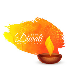 Happy diwali festival background with paint stroke vector