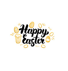Happy easter gold greeting card vector