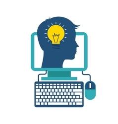 Head bulb computer icon Think and idea design vector