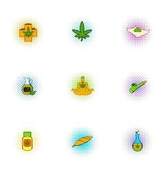 Hemp icons set pop-art style vector image