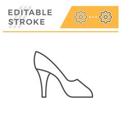 High heel shoe editable stroke line outline icon vector