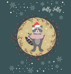 Holiday postcard with cute raccoon vector