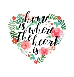 Home is the where heart - hand drawn text vector image
