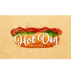 Hot dog kraft vector image