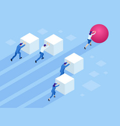 isometric business people pushing cubes winner vector image