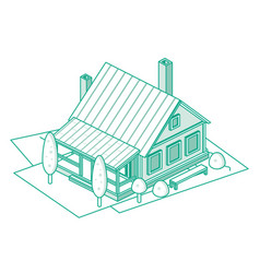 isometric outline suburb residential building vector image