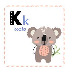Letter k funny alphabet for young children vector