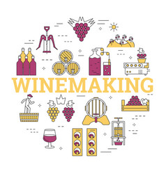 Linear round concept of winemaking vector