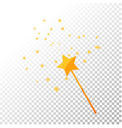 Magic wand and stars golden vector
