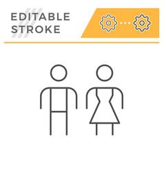 Male and female editable stroke line icon vector
