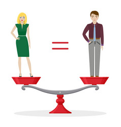Man and woman on balanced scale gender equality vector