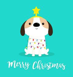 Merry christmas dog fir tree shape garland lights vector