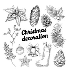 merry christmas hand drawn decoration doodle vector image