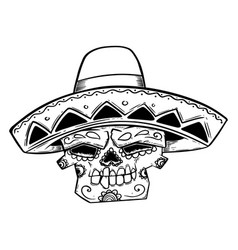 mexican sugar skull in sombrero isolated on white vector image