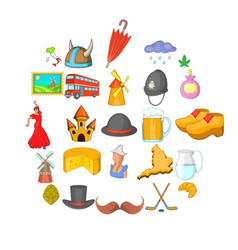 nooning icons set cartoon style vector image