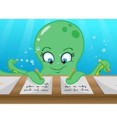 octopus writing vector image