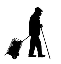 old man silhouette with stick and bags vector image