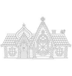 Ornate log house vector