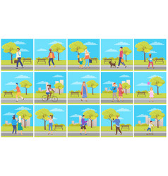 person in urban park walking man and woman vector image