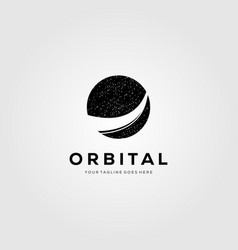 Planet orbit logo meteor tail symbol design vector