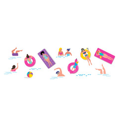 Pool party scene with a lot tiny people vector