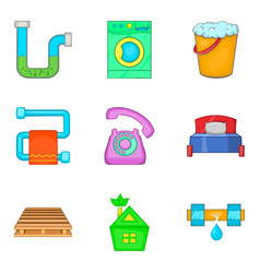 Reconditioning icons set cartoon style vector