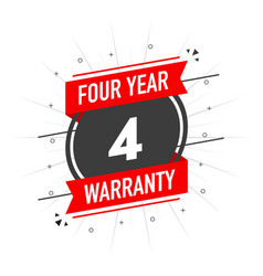 Red warranty stamp four year warranty flat vector