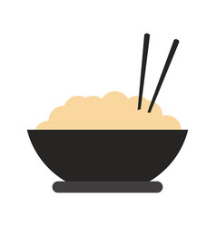 rice bowl with chopsticks vector image