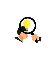 Right hand a man holding a glass lens loop vector