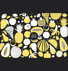 scandinavian hand drawn fruit design template vector image