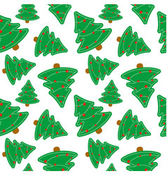 seamless pattern of christmas tree merry vector image