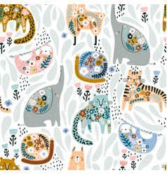 Seamless pattern with cute colorful elephant vector