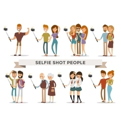 Selfie shots family and couples vector