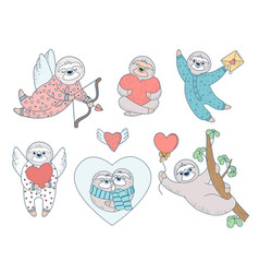 set of valentine sloths with hearts vector image