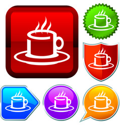 Set shiny icon series on buttons coffee vector