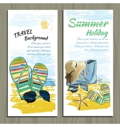 Set Travel colorful tropical design Hand drawn vector