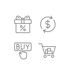Shopping cart discount box and sale icons vector