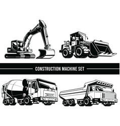 Silhouette construction machine heavy industrial vector