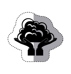 Sticker silhouette of hands holding a cumulus vector