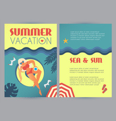 summer vacation people beach and sea in vintage vector image