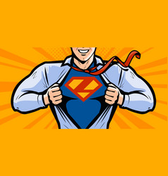 Superhero in style comic pop vector