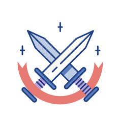 Swords line color icon vector