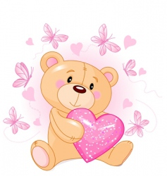 teddy bear with love heart vector image