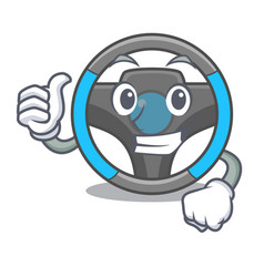 thumbs up steering wheel in the character shape vector image