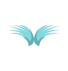 Two blue wing birds icon flat style vector