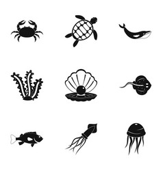 Underwater animal stickers icons set simple style vector