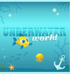 underwater world with elements vector image