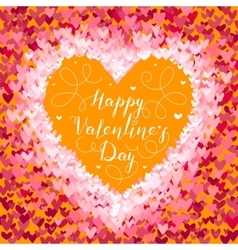 Valentines Day greeting in frame of red hearts on vector