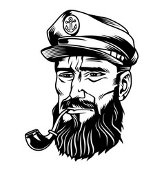 Vintage monochrome bearded sailor vector