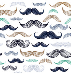 vintage moustaches seamless hand drawn pattern vector image